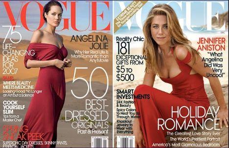 Jolie Ocak 2007'de, Aniston ise Kasım 2008'de Vouge'a kapak oldu... Röportajında ise Angelina'ya göndermeler vardı.